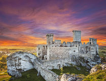 Beautiful sunset over castle. Royalty Free Stock Image