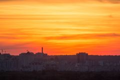 Beautiful sunset over the city royalty free stock photography