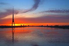 Beautiful sunset over the city royalty free stock photos