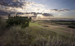 Beautiful sunset over countryside landscape Stock Images
