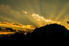 Beautiful sunset over the Doi Luang Mountains of Thailand Stock Photos