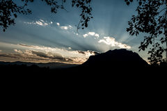 Beautiful sunset over the Doi Luang Mountains of Thailand Royalty Free Stock Image