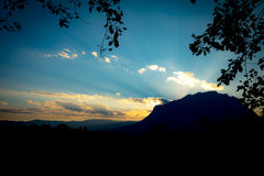 Beautiful sunset over the Doi Luang Mountains of Thailand Stock Image