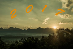 Beautiful sunset over the Doi Luang Mountains of Thailand Stock Images