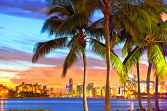 Beautiful sunset over  Downtown and the Port of Miami. Beautiful colorful sunset skyline panorama with silhouettes of Palm trees Royalty Free Stock Photography