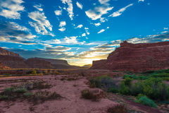 Beautiful Sunset over Dry White Canyon leading To Lake Powell Stock Images