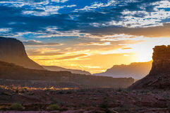 Beautiful Sunset over Dry White Canyon leading To Lake Powell Stock Image