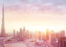 Beautiful sunset over Dubai city Stock Images