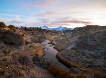 A beautiful sunset over the Eastern Sierra from Hot Creek Geological Site royalty free stock photography