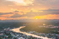 Beautiful sunset over the estuary community view from Mut Sea mo stock photos