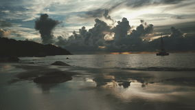 Beautiful sunset over the famous beach Anse Lazio, Praslin island, Seychelles. Sunset time at Anse Lazio beach, Praslin, Seychelles stock video