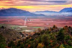 Beautiful sunset over the fertile plains in Croatia Stock Photos