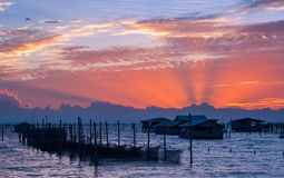 Beautiful sunset. Over fisherman village Royalty Free Stock Photography