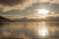 Beautiful Sunset over fjord in Tromso, Stock Photos