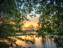 Beautiful sunset over a forest lake royalty free stock images
