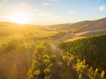 Beautiful sunset over Great Alpine Road - aerial view. Victoria, Australia royalty free stock photography