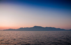 Beautiful sunset over Greek island Stock Image