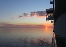 This is a beautiful sunset over the Gulf of Mexico as seen from the balcony of a cruise ship. Royalty Free Stock Image