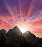 Beautiful sunset over a high mountains. royalty free stock image