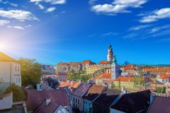 Beautiful sunset over historic centre of Chesky Krumlov old town in the South Bohemian Region of the Czech Republic on Vltava stock image