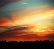 Beautiful sunset over the horizon Stock Photography