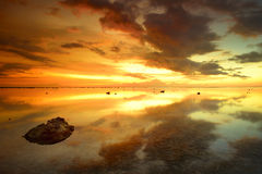 Beautiful sunset over the island of Bali Agung vol Royalty Free Stock Photos