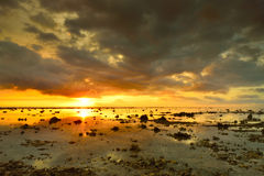 Beautiful sunset over the island of Bali Agung volcano on the ba Stock Photography