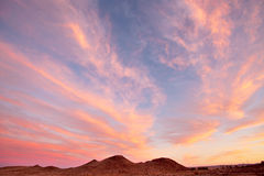 Beautiful sunset over Karoo. Beautiful evening sunset and cloudscape over Sinkkoppe mountains at Williston, Great Karoo, South Africa Stock Photography