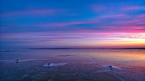 Beautiful sunset over the lake Balaton in Hungary, blue,  nature Royalty Free Stock Images