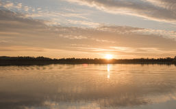 Beautiful sunset over the lake Stock Photography