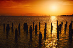 Beautiful sunset over the lake Stock Photography