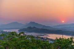 Beautiful sunset over lake in Luang prabang, Laos Royalty Free Stock Photo