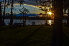 Beautiful sunset over the lake royalty free stock photography
