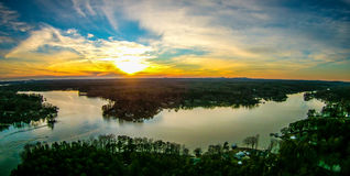 Beautiful sunset over lake wylie south carolina Royalty Free Stock Images
