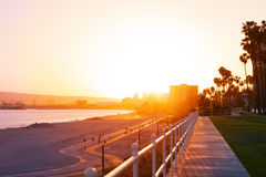 Beautiful sunset over the Long Beach coastline. With palm trees and buildings` silhouettes, California stock photo