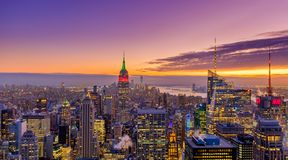 Beautiful Sunset Over Manhattan royalty free stock photo