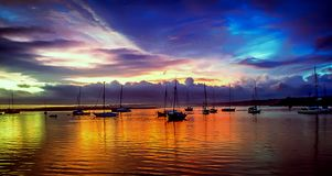 Beautiful sunset over the marina in Albufeira, Portugal stock image