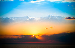 Beautiful sunset over mediterranean sea. Collage. Toned Stock Photography