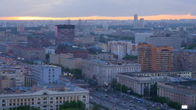 Beautiful sunset over Moscow. Evening time, city panorama from the top point Timelapse. stock footage