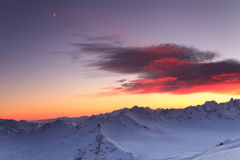 Beautiful sunset over the mountain ridge Stock Image