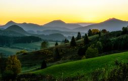 Beautiful sunset over mountains Stock Images