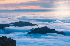 Beautiful sunset over the mountains, Madeira. Island, Portugal Royalty Free Stock Photo