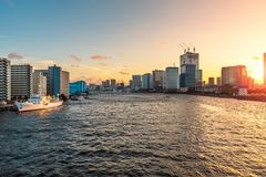 Tokyo waterfront and Sumida River at Sunset stock photography