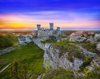 Beautiful sunset over old castle. Royalty Free Stock Photo