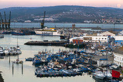 Beautiful sunset over Port of Tangier, Morocco Stock Image