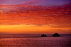 Sunset over Porth Nanven in the Cot Valley of Cornwall, England Royalty Free Stock Photos