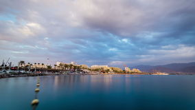 Beautiful sunset over Red Sea in Eilat, Israel stock video footage