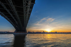Beautiful sunset over Rhine / Rhein river and old bridge in Main Royalty Free Stock Photos