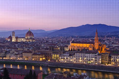 Beautiful sunset over the river Arno in Florence royalty free stock images
