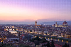 Beautiful sunset over the river Arno in Florence Stock Photos